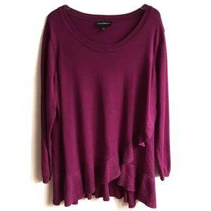Lane Bryant Ruffle Crossover Sweater Tunic 22/24